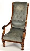 Lot 1480-A Regency rosewood open arm easy chair, with high ...