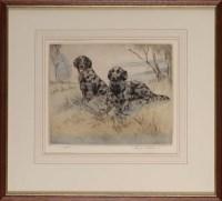 Lot 35 - Henry Wilkinson (1921-2001) TWO BLACK GUN DOGS...