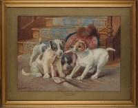 Lot 93 - Wilson Hepple (1853-1937) ''A TUG OF WAR'' -...