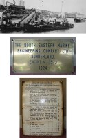 Lot 380-A bronze plaque from the engine of the Wear...