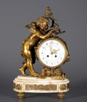 Lot 1178-A French gilt bronze and alabaster mantel...