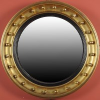 Lot 1236-A Regency circular giltwood convex wall mirror,...