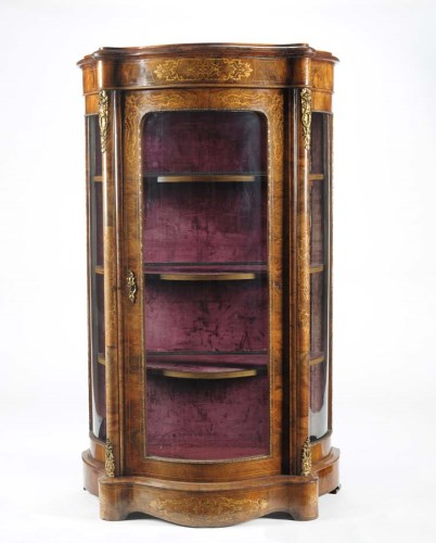 Lot 1254-A Victorian walnut pedestal cabinet, the...