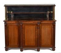 Lot 1309-A Regency rosewood breakfront side cabinet, the...