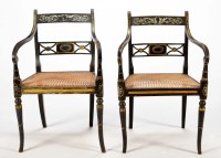 Lot 1345-A pair of Regency ebonised softwood cane seat...