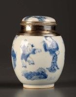 Lot 11 - An 18th Century blue and white covered vase,...