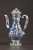 Lot 13 - An 18th Century blue and white ewer, Kangxi...