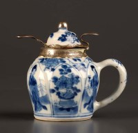 Lot 14 - An 18th Century blue and white wet mustard pot,...