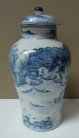 Lot 21 - A blue and white baluster vase, painted with a...