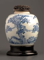 Lot 25 - A blue and white ginger jar, painted with the '...