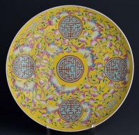 Lot 26 - A yellow ground charger, painted with five...