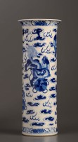 Lot 29 - A 19th Century blue and white sleeve vase,...
