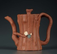 Lot 40 - A Yixing teapot, modeled as bamboo with crab...