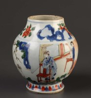 Lot 41 - A Wucai vase, in Transitional style, thickly...