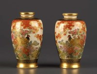 Lot 71 - A pair of Satsuma vases, of baluster form,...