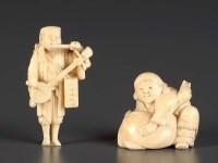 Lot 80 - A carved ivory netsuke of a man playing...