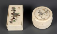 Lot 82 - Two shibayama boxes, one oblong, the other...