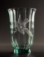 Lot 91 - Moser: a post war flared green glass vase of...