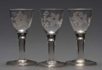 Lot 99 - Three 18th Century glasses, the egg shaped...