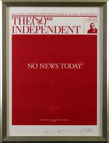 Lot 232-Damien Hirst (b1966-) ''NO NEWS TODAY (THE RED...