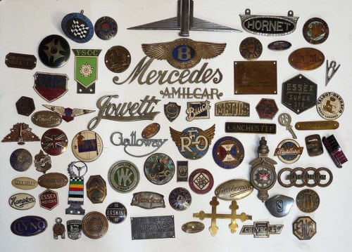 Lot 1118-A large collection of vintage car badges,...