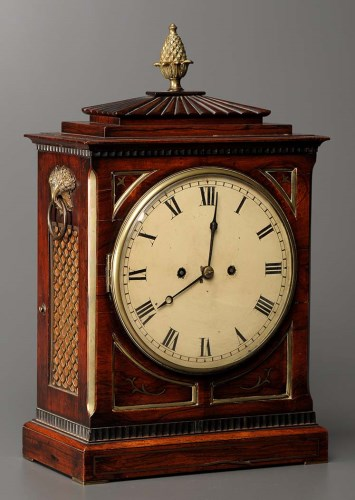 Lot 1276-A Regency rosewood and brass inlaid bracket clock,...