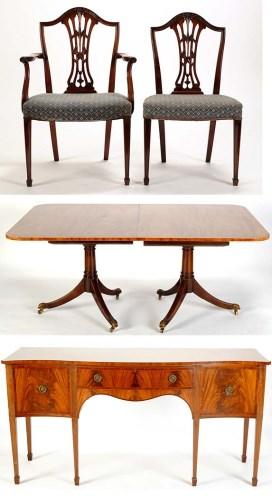 Lot 1303 - A mahogany dining room suite, comprising: a...