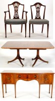 Lot 1303-A mahogany dining room suite, comprising: a...
