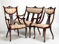 Lot 1316-An Edwardian mahogany seven-piece salon suite,...