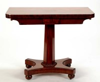 Lot 1393-A late Regency card table, the plain top with...