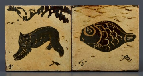 Lot 339-† Bernard Leach: a tile painted with a bear in...