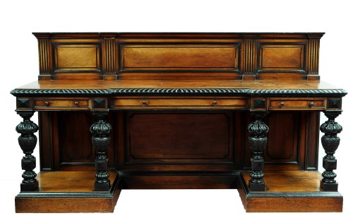 Lot 1345-† A large Victorian walnut and ebonised...