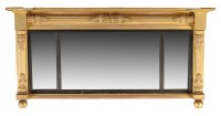 Lot 1382-† A Regency giltwood overmantel mirror, the...