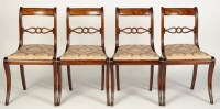 Lot 1498-A set of four Regency mahogany dining chairs with ...