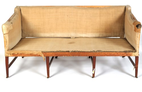 Lot 1856-A Georgian mahogany settee, raised on moulded...
