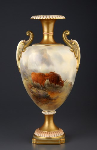 Lot 459-Royal Worcester: a vase by John Stinton, shape...