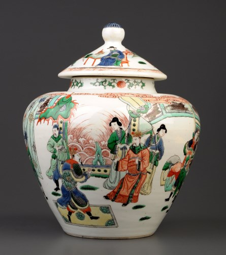 Lot 493-A 'Famille Vert' covered jar, painted in Wucai...