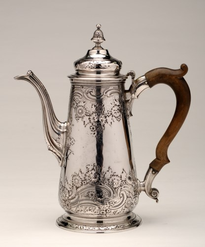 Lot 675-A George II coffee pot, by Aymé Videau, London...
