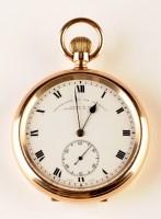 Lot 734-A gentleman's 9ct. gold open face pocket watch,...