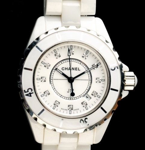 Lot 750-Chanel: a J12 lady's watch, the white baton dial...