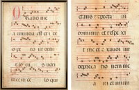 Lot 958-Two double-sided leaves of music manuscript,...