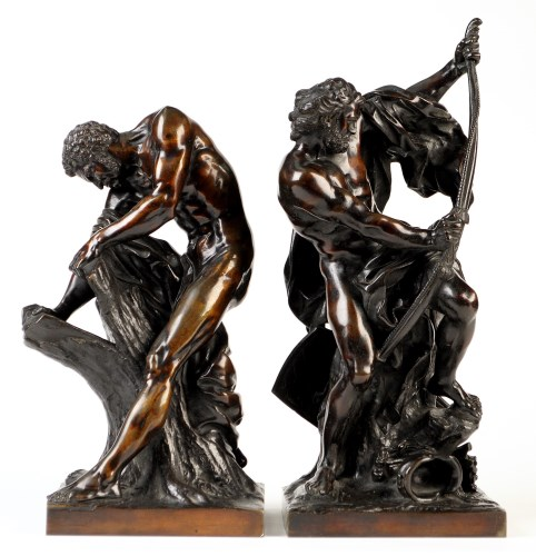 Lot 970-A pair of classical patinated bronze statutes,...