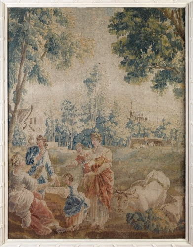 Lot 1005 - A framed Aubusson tapestry panel, mid 18th...