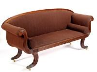 Lot 1114-A Regency mahogany scroll-end settee, plain rail...