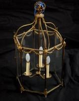 Lot 1141-A brass Regency style hexagonal hall lantern,...