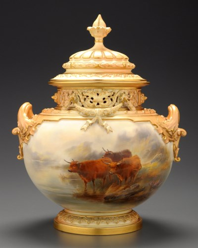 Lot 358 - Royal Worcester: a Bow vase and cover, shape...