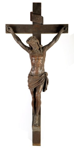 Lot 1334 - A carved oak Corpus Christie, reputedly by...