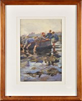 Lot 85 - Dorothy Carr (1902-1986) BOYS ON TYNEMOUTH...