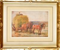 Lot 96 - John Atkinson (1863-1924) ''LOADING A HAYCART''...