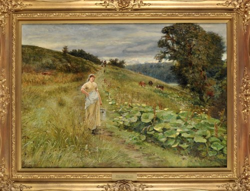 Lot 257-Robert Jobling (1841-1923) ''THE MILKMAID (NEAR...